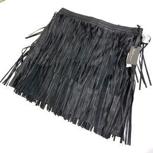 Skye's   Fringe Pleather Skirt Black NWT